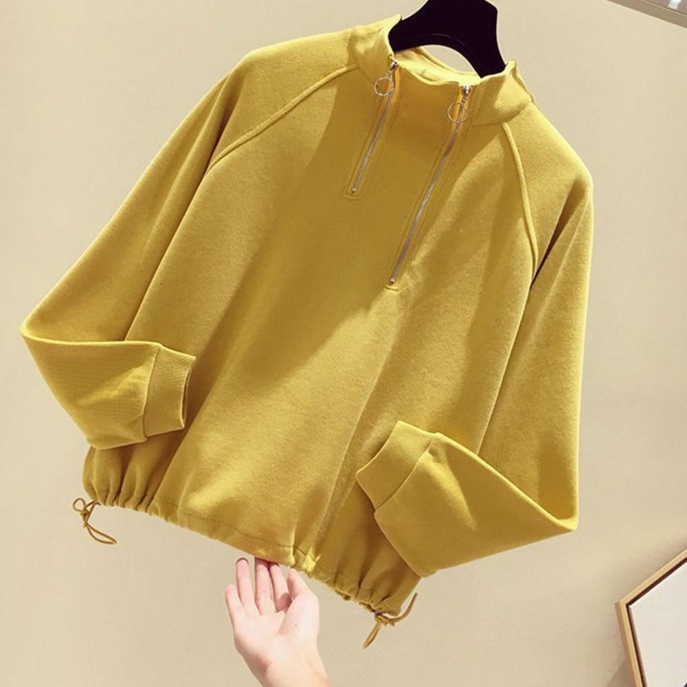 Свитер на молнии 2021 Новая женская ранняя осенняя носить свободные стенд воротник пуловер с ним