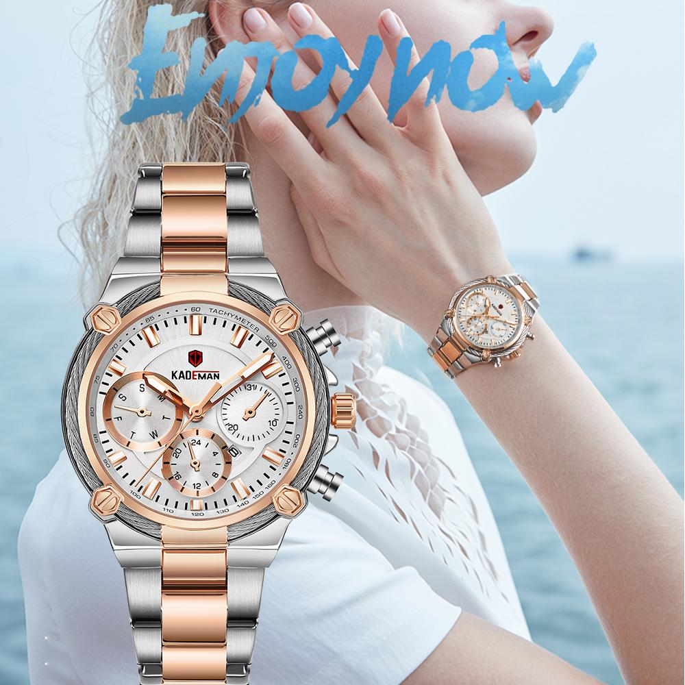 KADEMAN Luxury Women Watches Classic Design Steel Strap Date Quartz Ladies Watch Female Wristwatch Girl Clock Relogio Feminino C0227