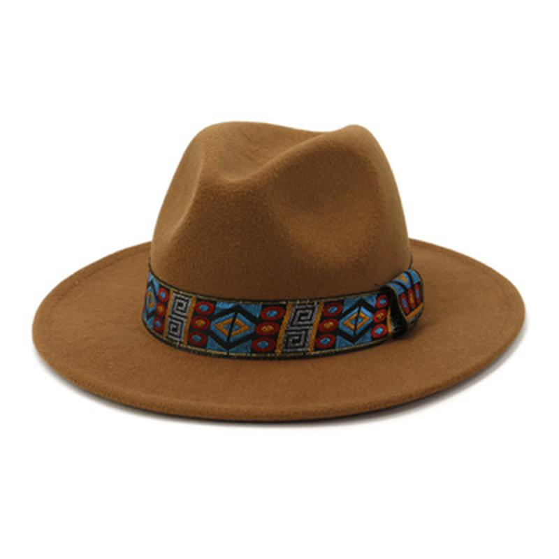 Femmes chapeau hiver automne solide large bretelle bandée western cow-boy fedora chapeaux noir blanc bleu rouge rouge décontracté robe formelle de plein air chapeau