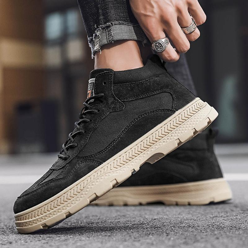 Leather high-top Martin boots tooling casual shoes fashionable and comfortable breathable non-leather casual light shoes flat