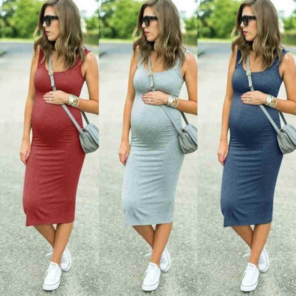 Summer Skirt Dresses Spring Dress Pregnant Clothes One-piece Maternity Round Neck Elastic Waist Strap Skirts Fashion Comfortable Soft Fabric G73RWL0