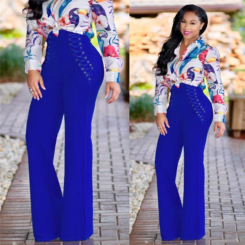 2021 Yeni Doyerl Lace Up İnce Yüksek Bel Geniş Bacak Pantolon Kadın Sonbahar Kış Palazzo Casual Gevşek Bayanlar İş Flare Uzun Pantolon 4nwf