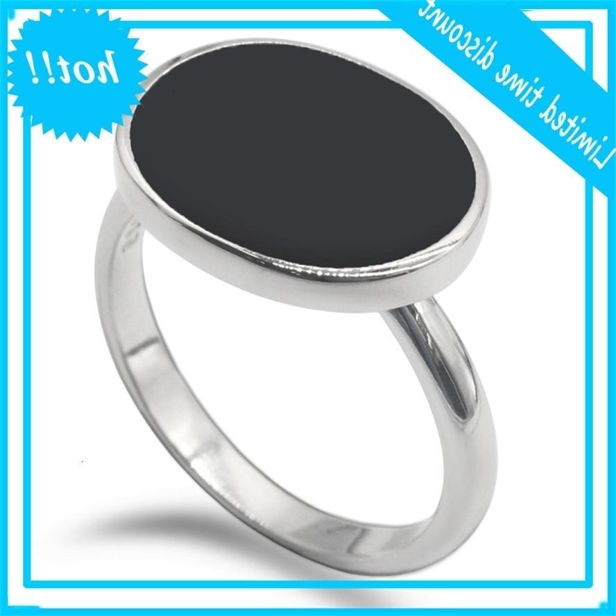 925 Sterling Silver Simples Clássico Formulário Oval Formulário Preto Email Trendy Dedo Anel para Mulheres Melhor Amigo Jóias Finas