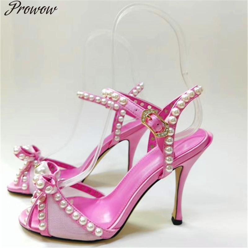 ProWOW Новый негабаритный Жемчужный Лук Леди T-Brap Высокие каблуки Розовый Черный Круглый Носок Высокие каблуки Летняя вечеринка Обувь