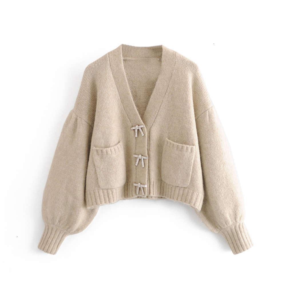 Abbigliamento femminile Autunno e inverno 2021 New Lazy Wind Bow Bow Studded Cardigan Maglione D4611 D4611