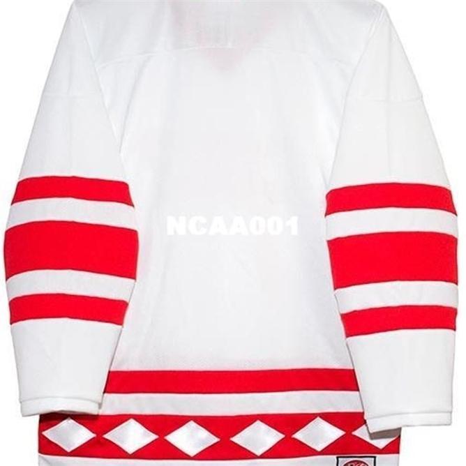 Vintage Gerçek Tam Nakış Rusça 1980 CCCP 100% Nakış Beyaz Kırmızı Hokey Forması veya Özel Herhangi Bir Ad veya Numarası Jersey