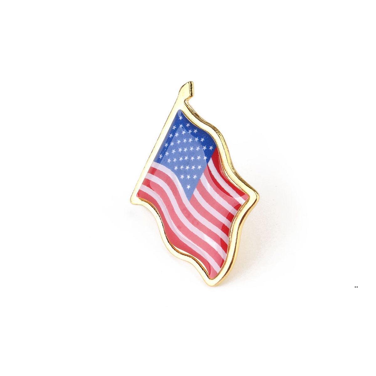 럭셔리 디자인 선물 미국 국기 옷깃 핀 미국 미국 10pcs / lot 모자 넥타이 압정 배지 핀 의류 가방에 대 한 미니 브로치 DEC FWD9494