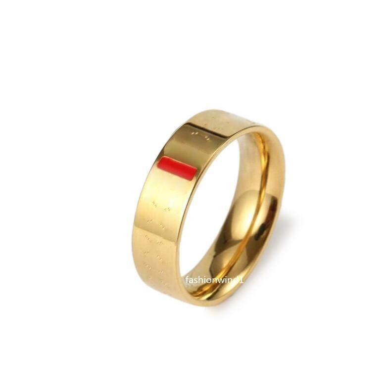 Amore intaglio anello anelli anelli da uomo classico design gioielli donne in lega di titanio in lega d'acciaio oro placcato oro argento rosa mai dissolvenza larghezza 6mm taglia 5-11 #
