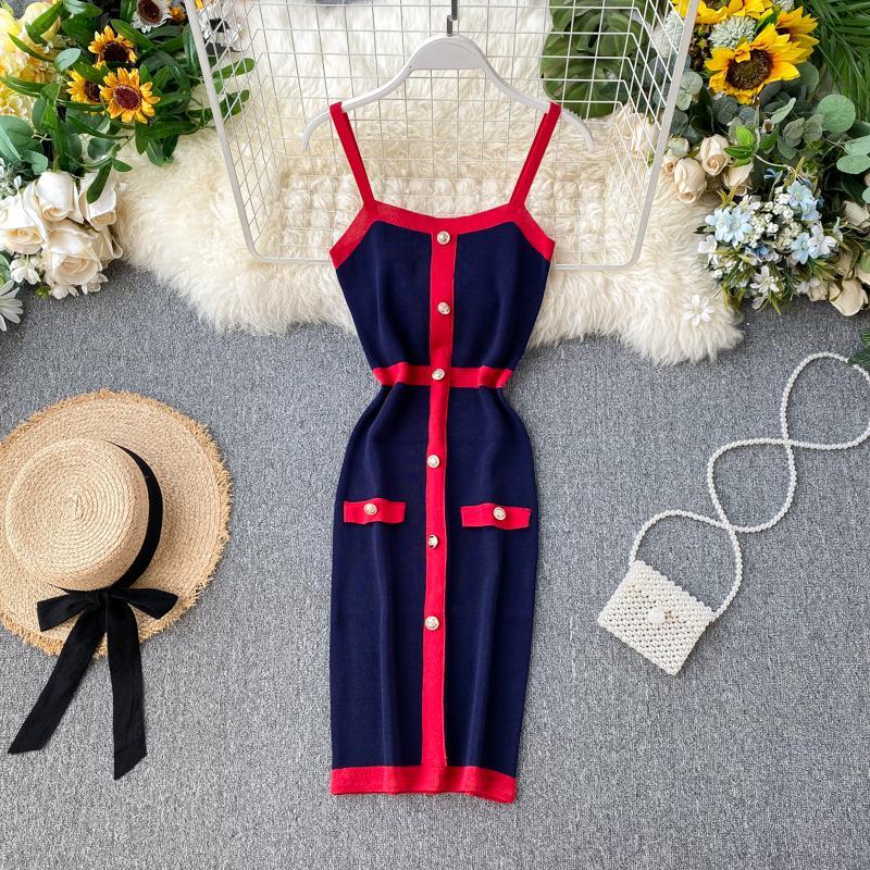 2021 Nuevo diseño Moda de mujer Moda Sexy Color Bloque Spaghetti Strap Single Breasted Punto Punto Lápiz Vestido de tanque