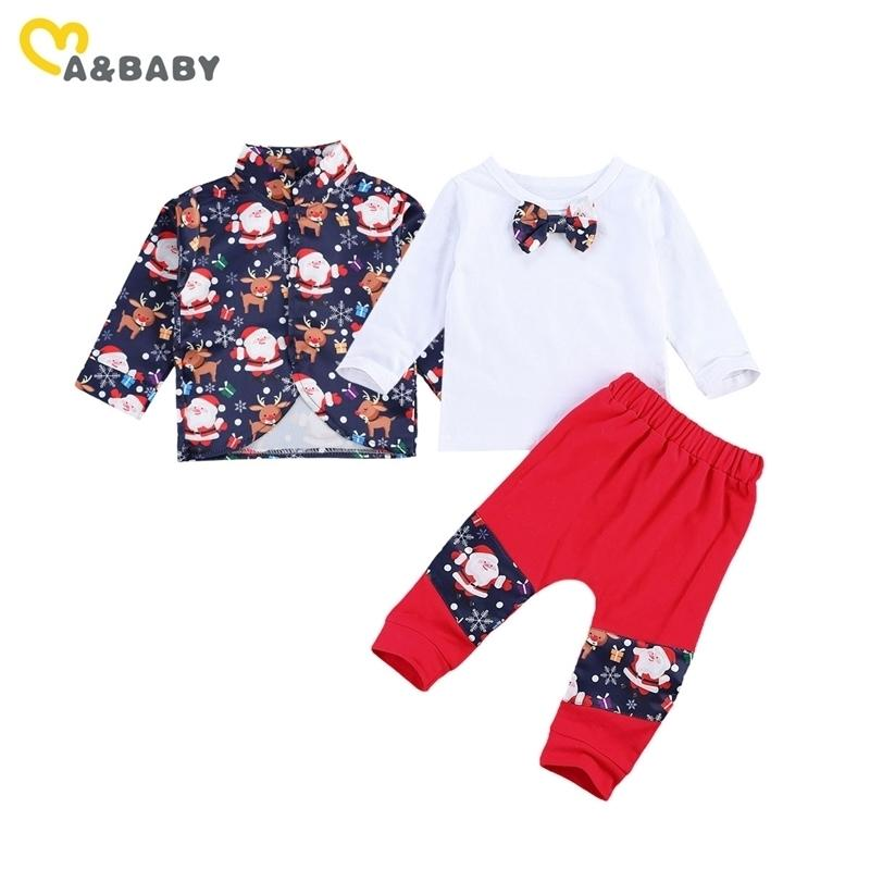 Ma&Baby 0-3Y Christmas Toddler Infant Baby Clothes Set Cartoon Santa Coat Bow T shirt Pants Xmas Outfits Boy Gentleman Suit 210309