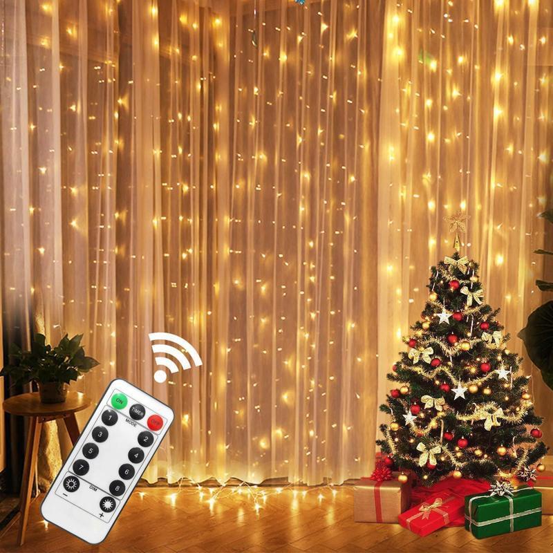 3 M LED Peri Işıkları Çelenk Perde Lamba Uzaktan Kumanda USB Dize Işıkları Garland Pencere üzerinde Noel Süslemeleri Ev için
