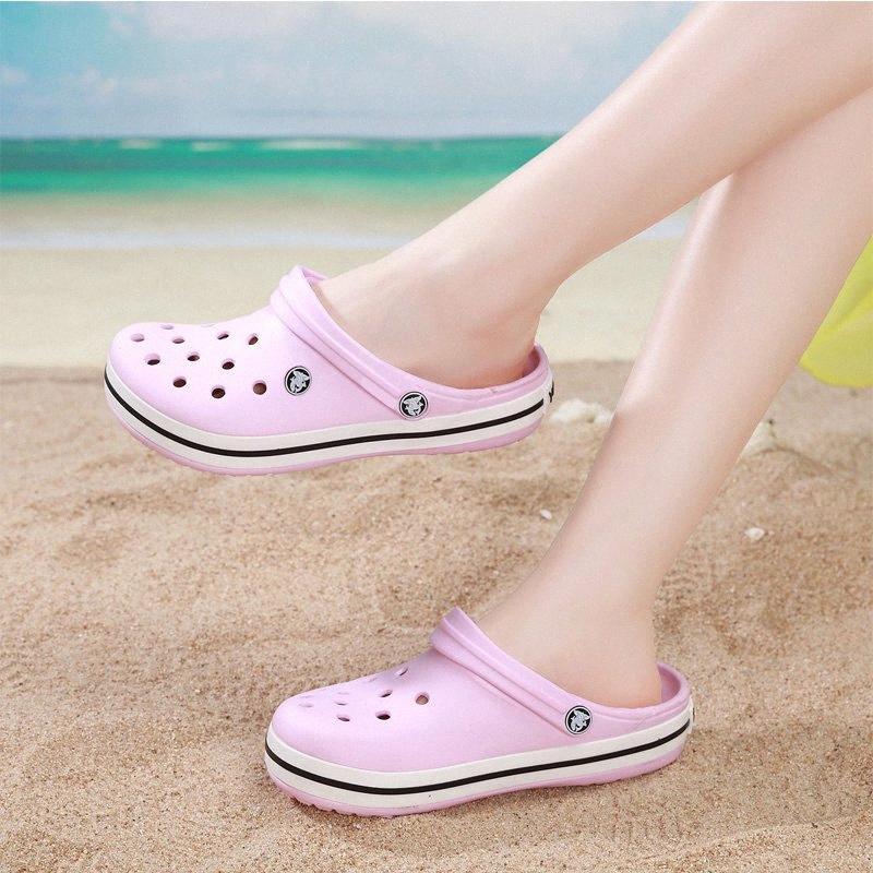 Moda verão mulheres obstrui sandálias de praia para mulheres jardim sapatos mule tamancos moda cor de doces adulto clog unisex f1rb #