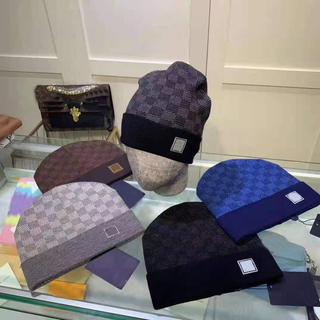 أعلى جودة حرف الكلاسيكية محبوك قبعة قبعات 5 لون للرجال المرأة الخريف الشتاء الدافئة سميكة الصوف التطريز قبعة الباردة زوجين أزياء الشارع القبعات