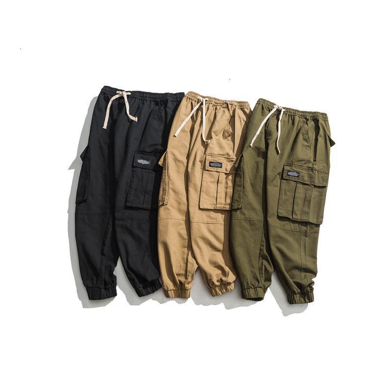 01 Combinaisons multiples multiples de poche en vrac Tendance de coton décontracté pantalon de haute qualité hommes