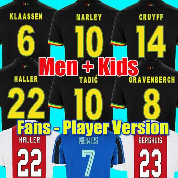 (Con IVA) 2122 Bob Marley Soccer Jersey Tadic Berghis Haller Third Black Kit Blind PROMES NERE CRUYFF KLAASSEN GRANBERBERCH SHIRD CALCIO UOMINI BAMBINI SISTIONI Uniformi