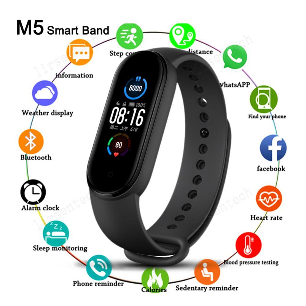 M5 ملون الشاشة الذكية الفرقة اللياقة تعقب ووتش الرياضة سوار القلب معدل ضربات القلب ضغط الدم smartband مراقب الصحة