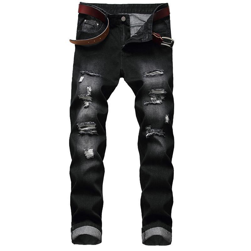 Men's Jeans Cross Border Wear Hole Straight Fit No Tattered Light Denim Pants