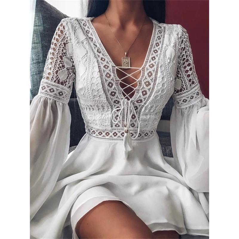 Sexi Midi Night Club Kleid Spitze V-Ausschnitt Minikleid Sommer Flare Sleeve Chiffon Elegante Frauen Aushöhlen Party Kleider 210309
