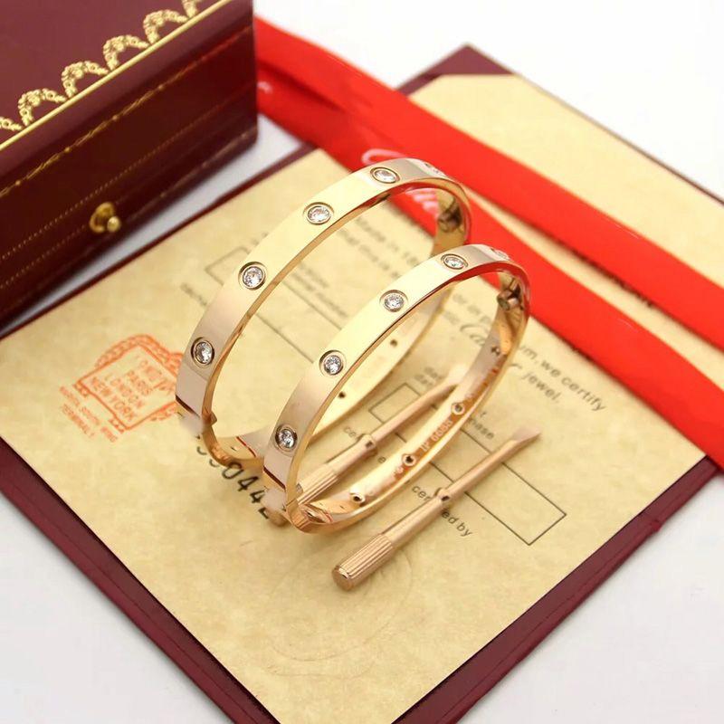 Mode Dame Silber Damen Rose Gold Armreif Schraube Männer Schraubendreher Zehn Diamant Armband Luxus Designer Schmuck Womens Herren Armbänder und Original Box