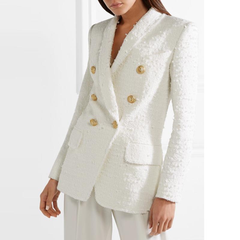 High Street Neueste Runway 2021 Designer Blazer Damen Metall Buttons Schal Kragen Wolle Mischungen Tweed Blazer Mantel
