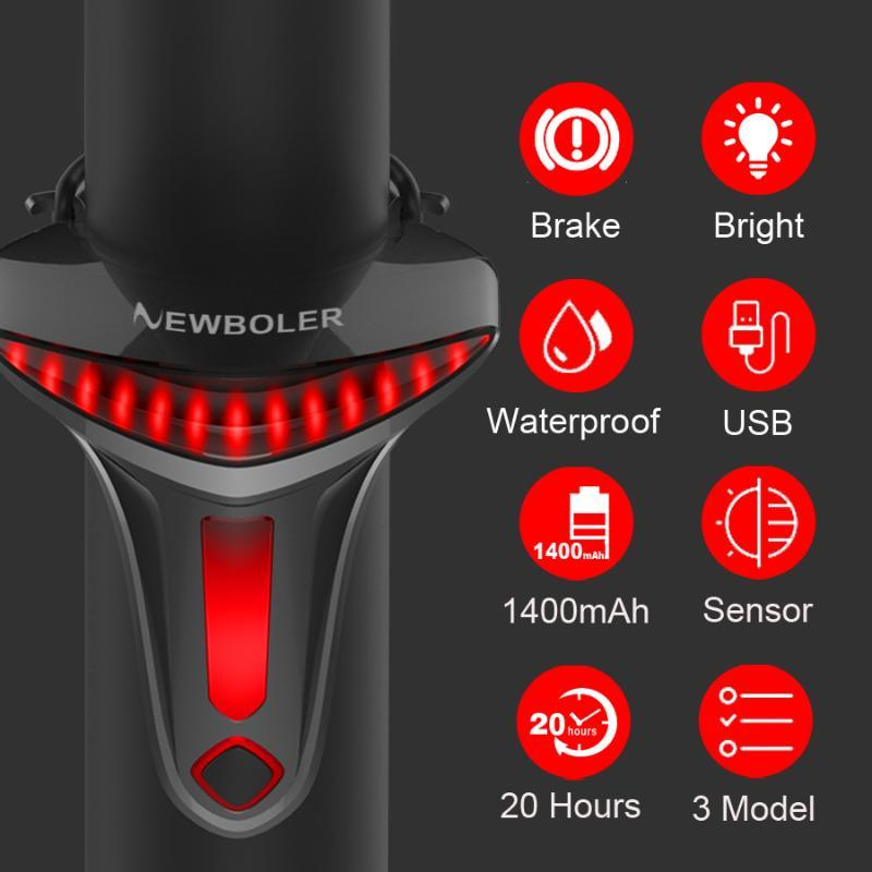 NewBoler Sensoring Fren Bisiklet Kuyruk Işık Oto Yıldız Durdurma USB Bisiklet Işıkları Bisiklet Aksesuarları Için Bisiklet Arka Lambası LED