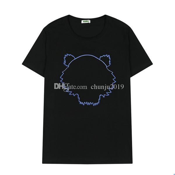 Erkekler Moda T Shirt 2021 Trendy Kadın Tişörtleri Tiger Nakış Mektup Mens Womens Yaz Rahat Nefes Tee Tops