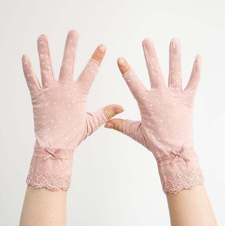 Abra dois dedo luvas fino das mulheres fino protetor solar não deslizante de algodão verão curto vazamento dedo mola e outono meia dedo