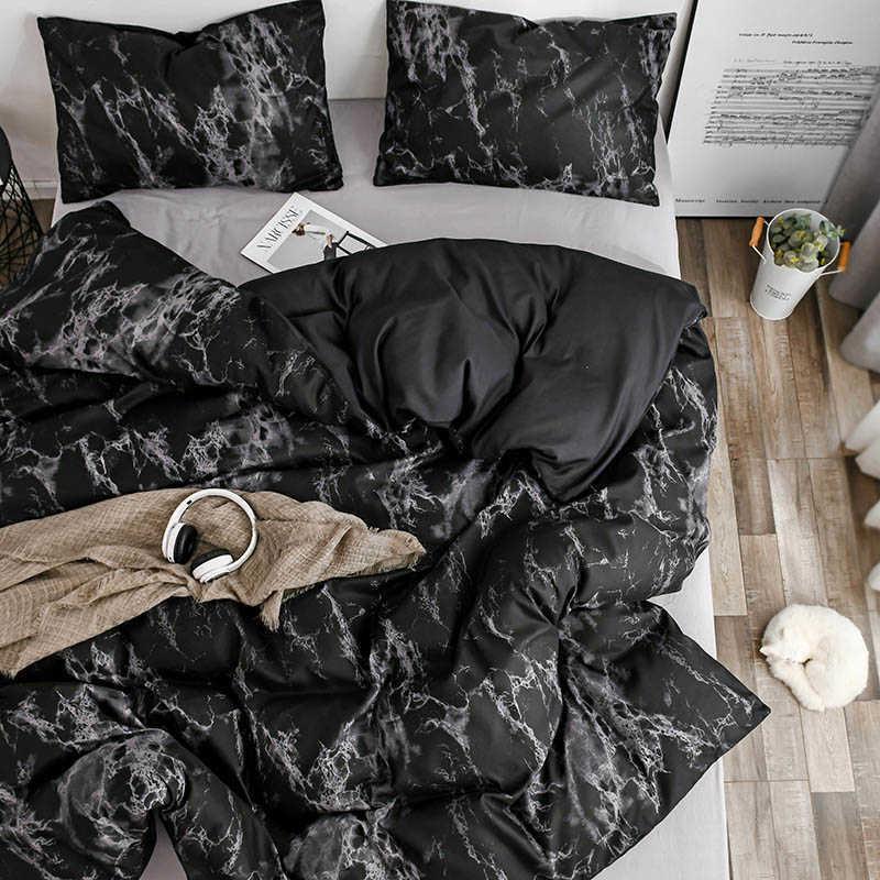 Marmorierte Bettwäsche Set Weiche Bettabdeckung Hautfreundliche Bettwäsche Doppelseite Quilt Cover und Kissenbezug für Haushaltshaushaltsartikel 210706