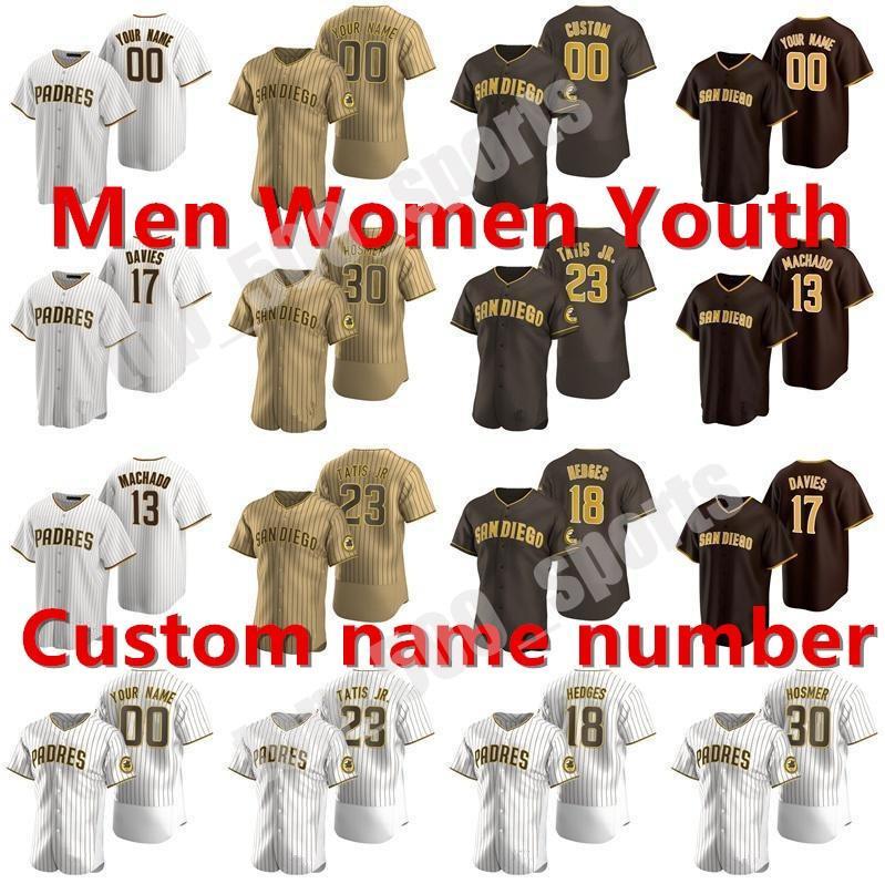맞춤형 새로운 2021 Tony Gwynn Jersey Fernando Tatis Jr. Manny Machado 에릭 하머 트레버 호프만 헌터 렌 프 로어 브라운 야구 유니폼