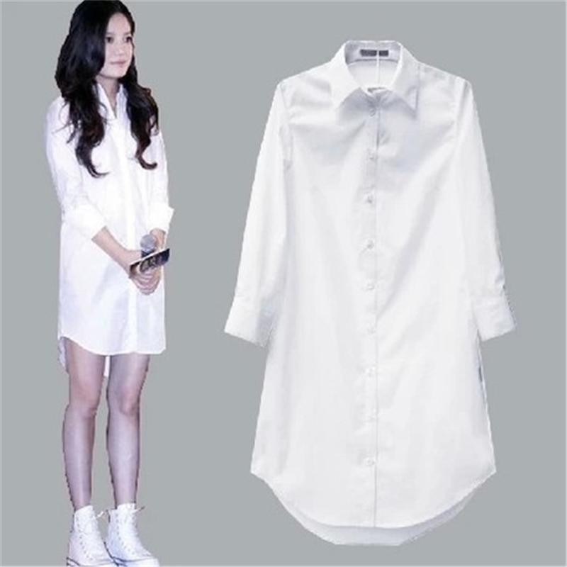 My NewIn 4XL 5XL Plus Size Women Blouse Shirt Long Sleeve White Solid Loose Long Version Casual Top 210223