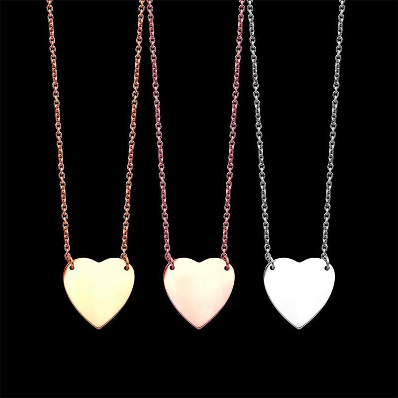 Pendants gold love Necklace fashion silver plated letter simple heart Titanium Valentine's Day lovers chain jewelry wedding