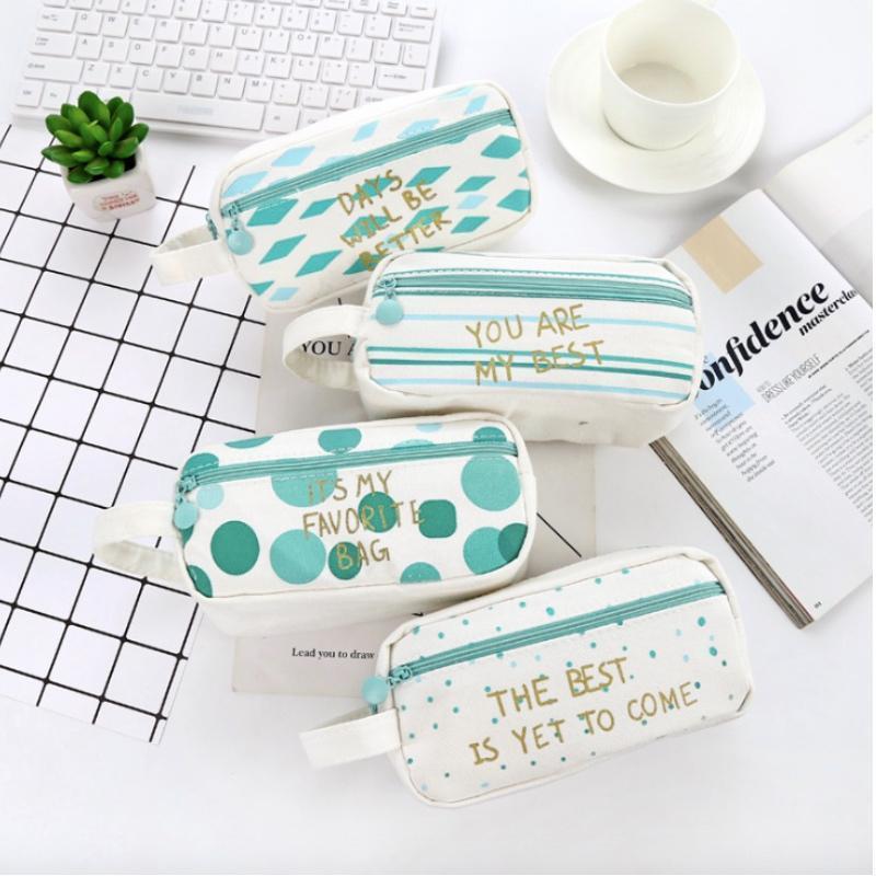 أكياس قلم رصاص بسيط القماش قماش حالة الإبداعية سعة كبيرة مفتوحة سستة حقيبة القرطاسية مدرسة للطالب كيد هدية