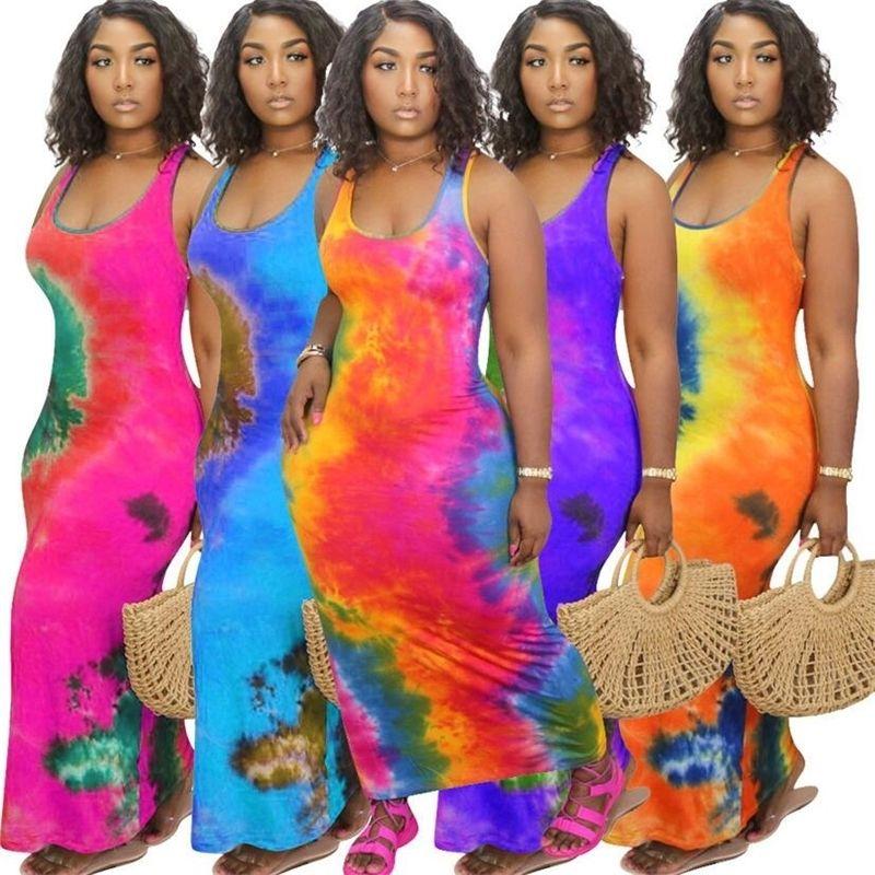 2020 Tasarımcılar Tie-Boya Baskılı Kadın Elbise Kolsuz Yuvarlak Boyun Uzun Elbise Bayanlar Spor Rahat Moda Elbiseler Artı Boyutu S-4XLF92910