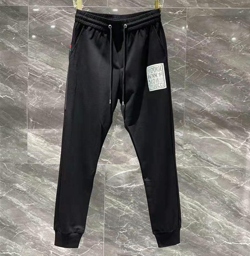 Hommes Slim Classic Track Pantalons Sport Polyester Designer Mâle Élastiquée Lettre Lettre Pantalon Long Long