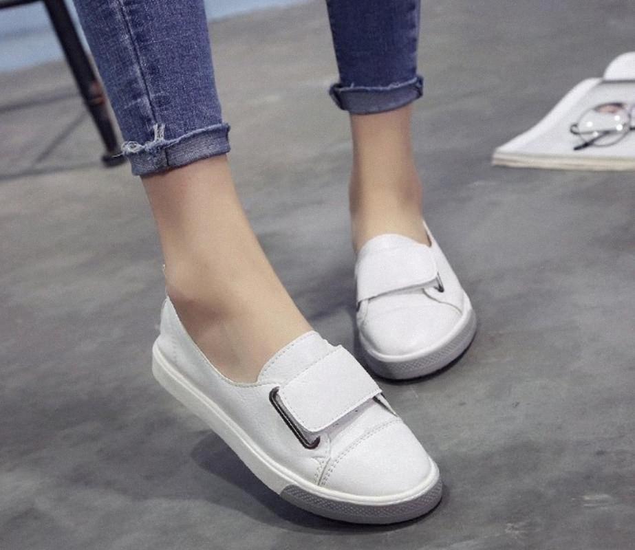 Mujer nueva moda zapatos zapatos casual alta plataforma PU cuero simple mujeres casual zapatos blancos zapatillas blancas zapatos de montaña zapatillas de deporte v5ki #
