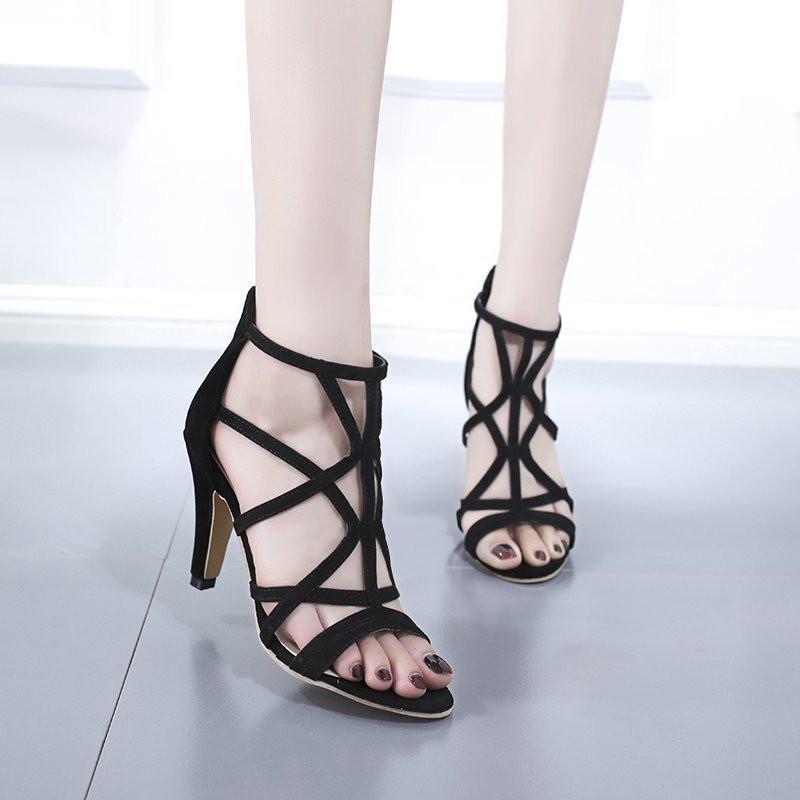 Сандалии 2021 Женщины Женские Мода Летние Сандалеты Высокий каблук Заказать Черные Базовые Обувь Запатиллас Mujer Plus Размер 35-42