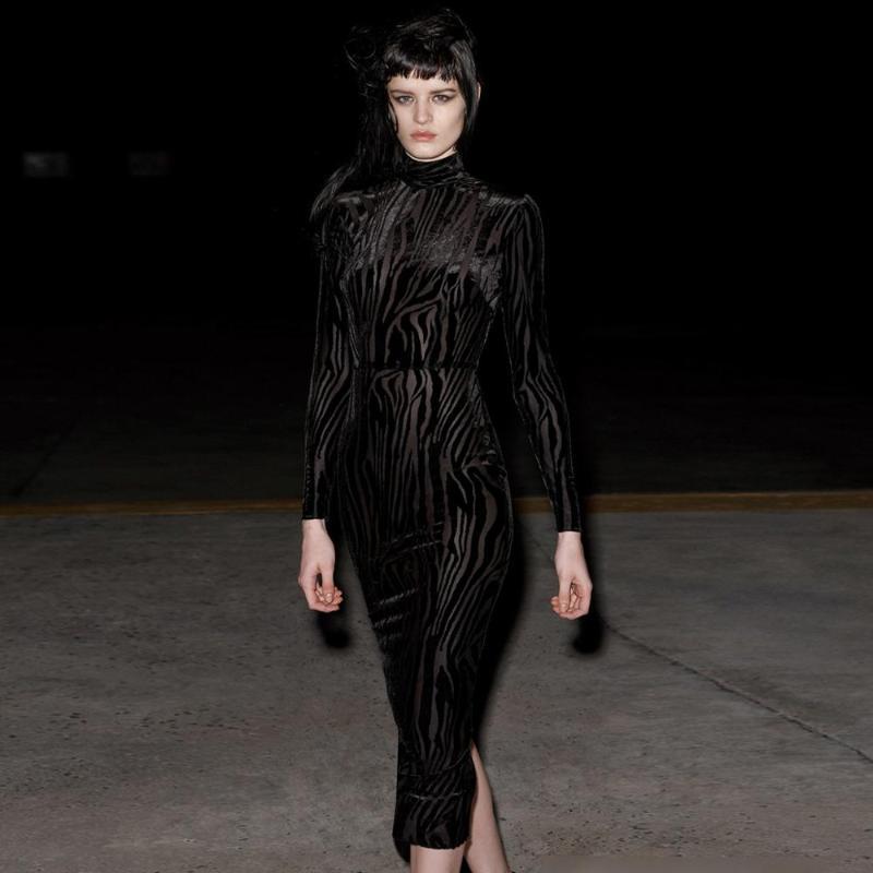 Casual Dresses Women Autumn Black Sexy Long Sleeve Turtleneck Buttock Mesh Elegant Evening Night Party Club Skinny Dress