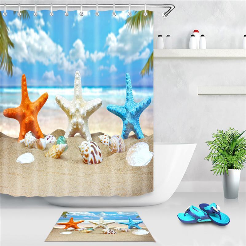 Sea Beach Douche Rideau Starfish Shell Imprimé Bain Écran Polyester Rideaux de douche imperméables Décor avec crochets