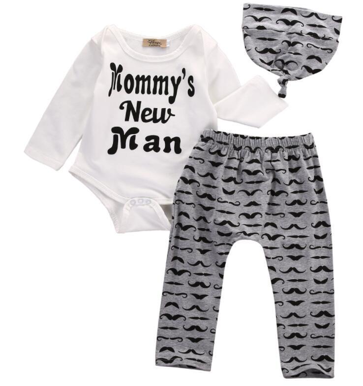 Bianchi neonato neonato abbigliamento set di abbigliamento natale neonati ragazze vestiti a maniche lunghe pagliaccetta da pagliaccetto cordsuit pantaloni lunghi + tappo 3pcs set