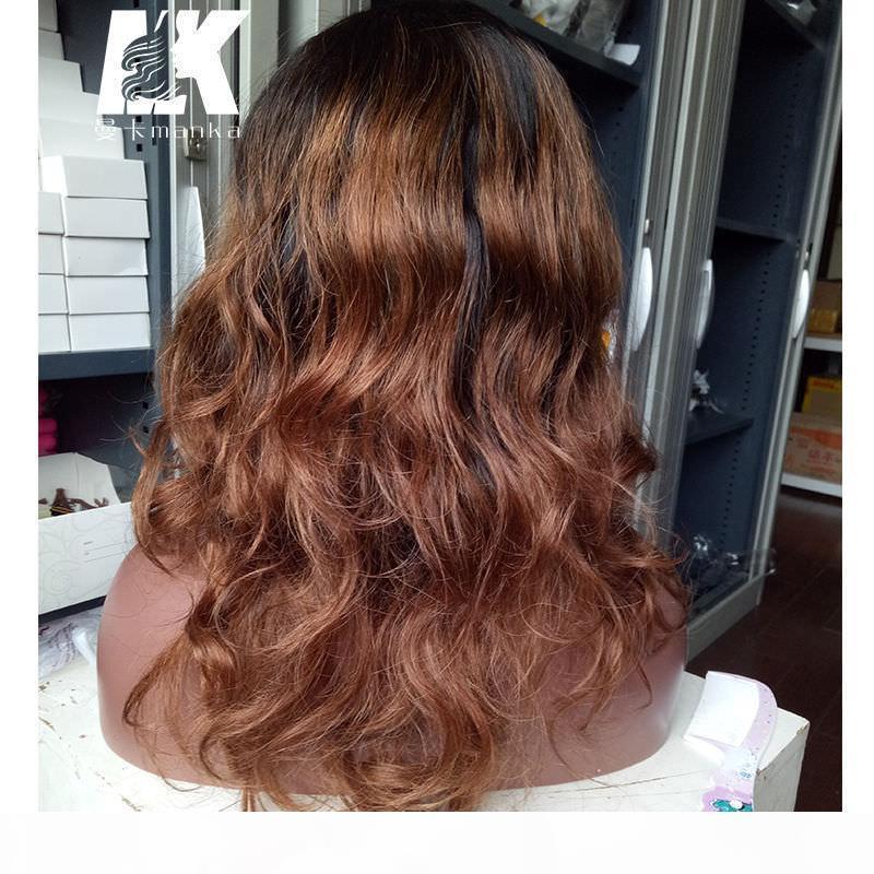 Два тона мода волнистые 130% -150% плотность оммре человеческие волосы шнурки переднего парика бразильские парики с челкой