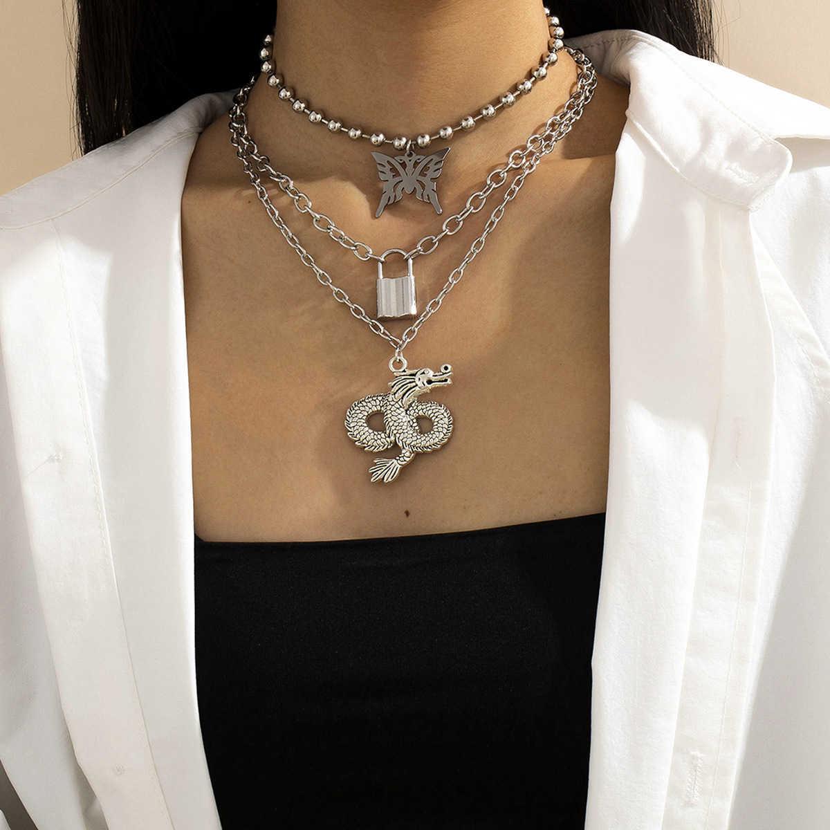 Ювелирные изделия Круглая цепь из бисера Кулон женская мода универсальная Дракон бабочка многоэлемент ожерелье