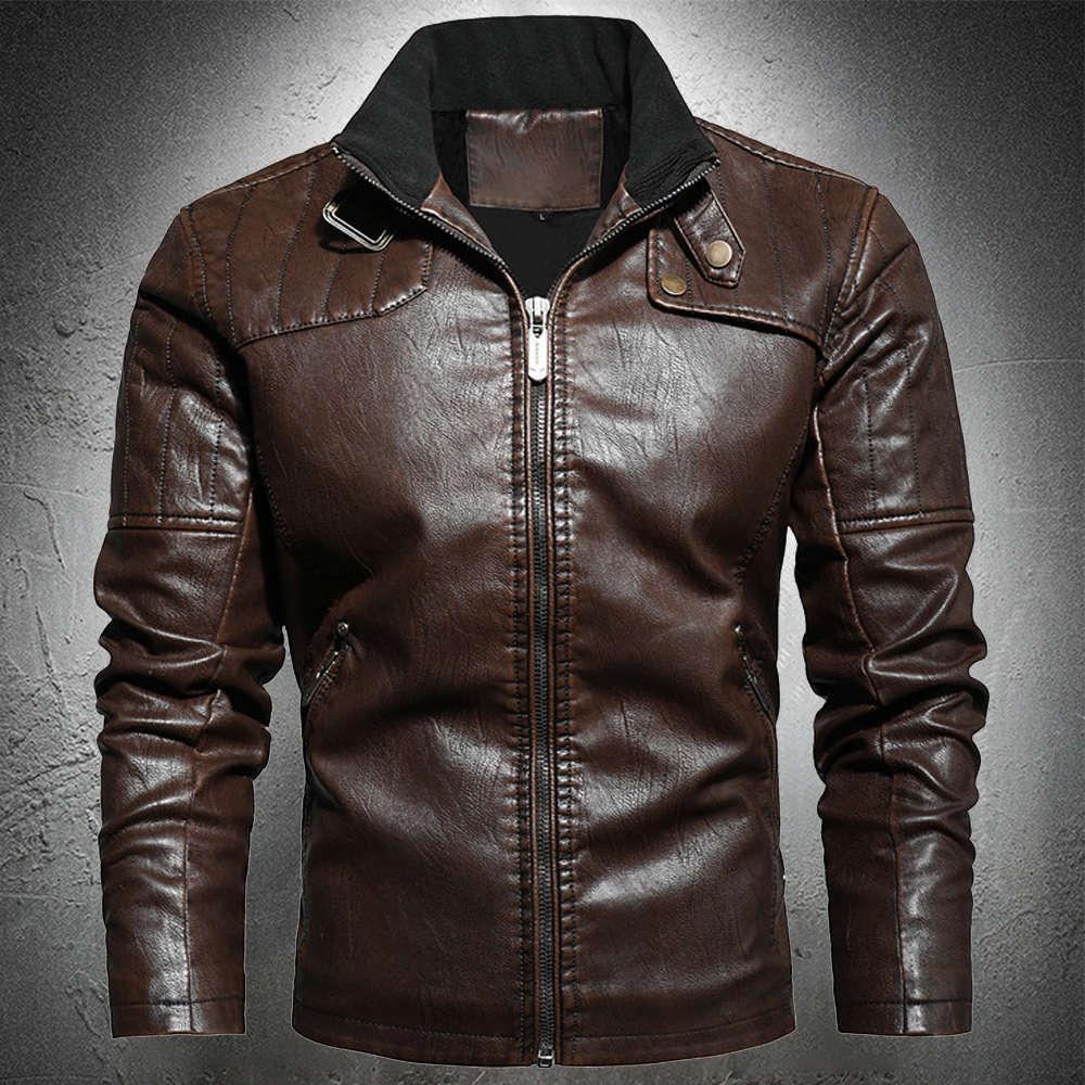 Hommes Spring Automne Mode Léger PU Mâle Mâle Manteau Manteau Faux En Cuir Manteau