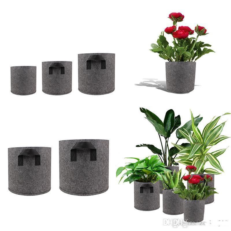 1/2/3/5/7/10 Gallon Plant Grow Bags Borse Aerazione non tessuta Tessuto Tessuto Pentole Pouch Container traspirante Degradabile Pentole autoassorbenti degradabili