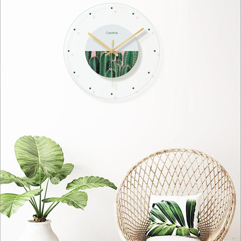 Wall Clocks Cendy Minimalist Fashion Transparent Glass Clock Green Plant Flower Decoration Hanging Room Bedroom Silent