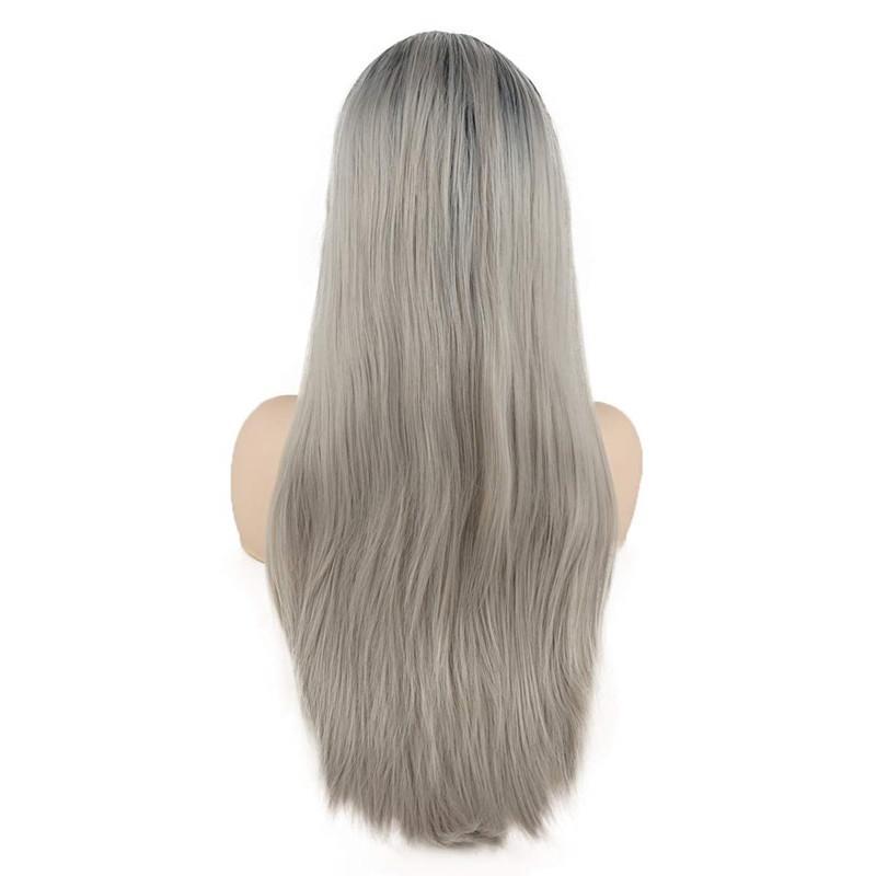 شعري الطبيعي الشظية رمادي طويل مستقيم الرباط الجبهة الباروكات الجبهة شعر الطفل 180٪ الكثافة عالية درجة الحرارة الألياف السويسري الرباط الباروكات للنساء