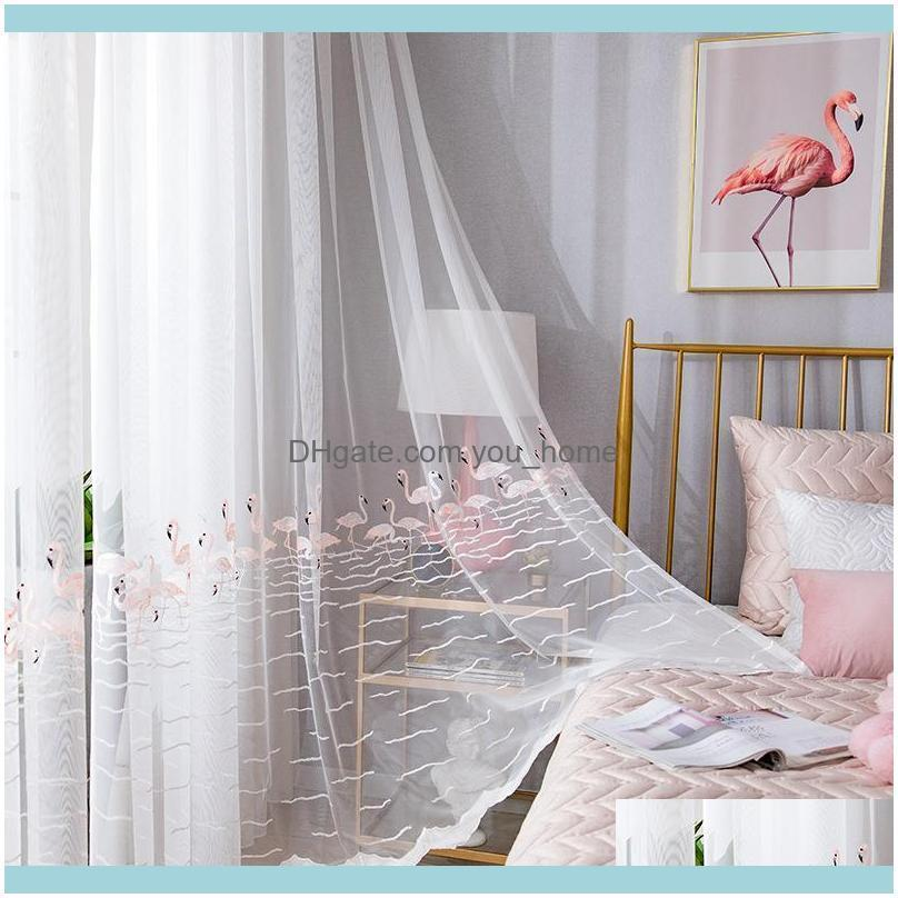 Deco El Supplies Home Gardenflamingos Tulle Voile White Embroidered Curtain Yarn For Bedroom Kitchen Living Room Balcony 1 Piece & Drapes Dr