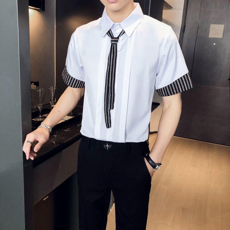 Erkek Polos Casual Slim Fit Elbise Gömlek Yaz Camisa Sosyal Masculina Kısa Kollu Parti Balo Şerit Ekleme Smokino S Erkekler 4R0R