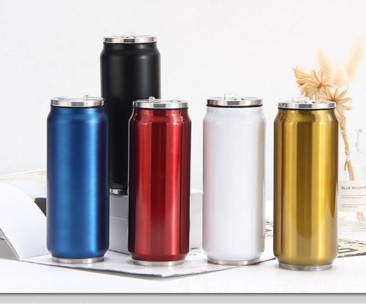 New 350ML and 500ML Cola Can Bottle Water Cup Stainless Steel Outdoor Vacuum Insulated Mug Cup Sith Straw Lids