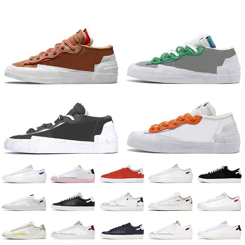 Nike Sacai Blazer Low 77 Vintage Bayan Tasarımcı Günlük Ayakkabılar İngiliz Tan Demir Gri Klasik Yeşil Magma Turuncu Platform Spor Ayakkabı Be True Sneakers