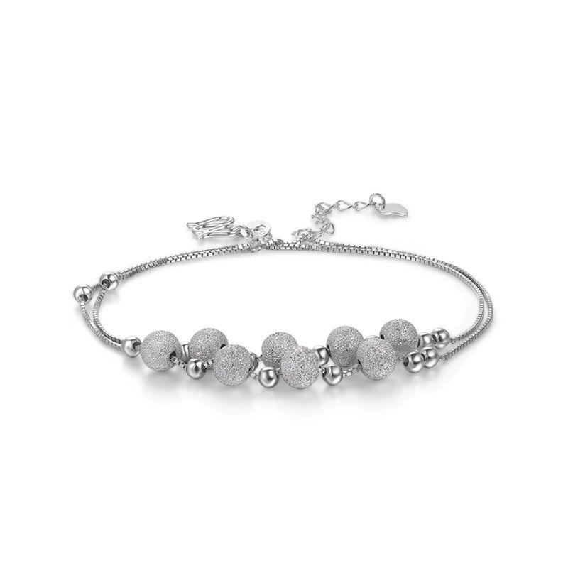 Fun-Beauty Ladies S925 STRINLING Silver Accesorios de verano Simple Personalidad helada Beaded Bead Andklet